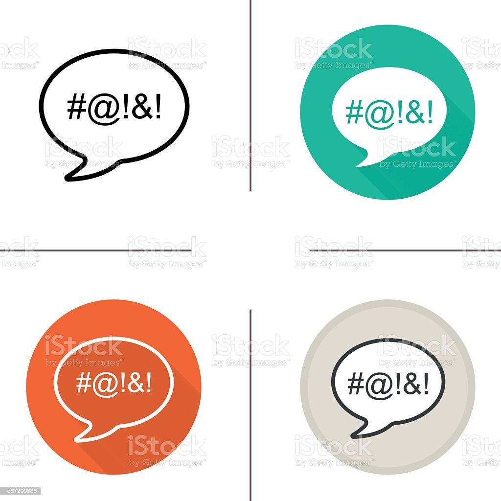 Dirty language icons vector art illustration