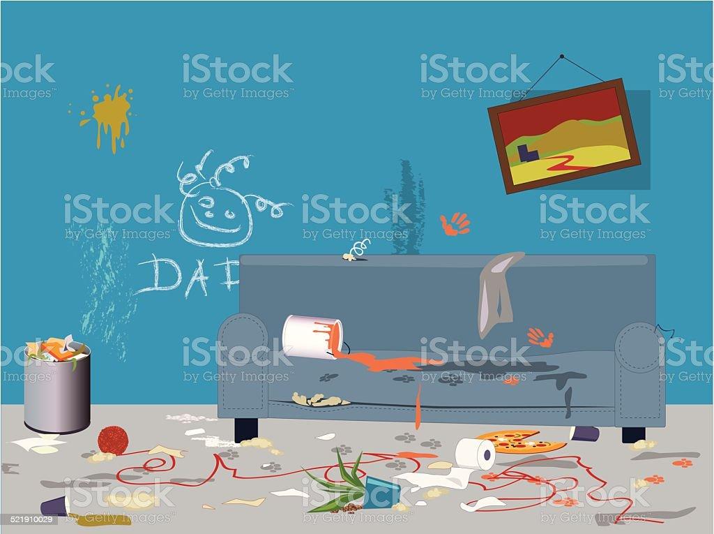 Dirty messy room vector art illustration
