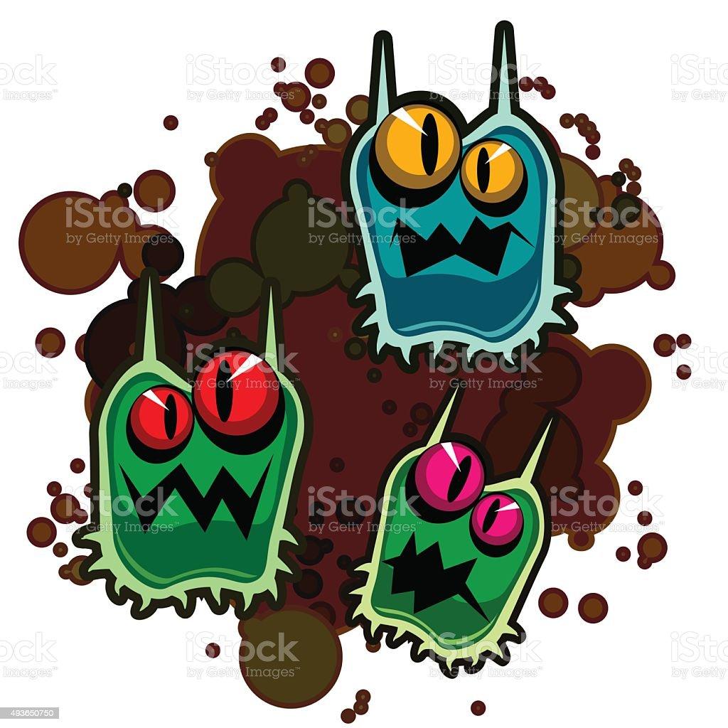 Dirty monsters vector art illustration