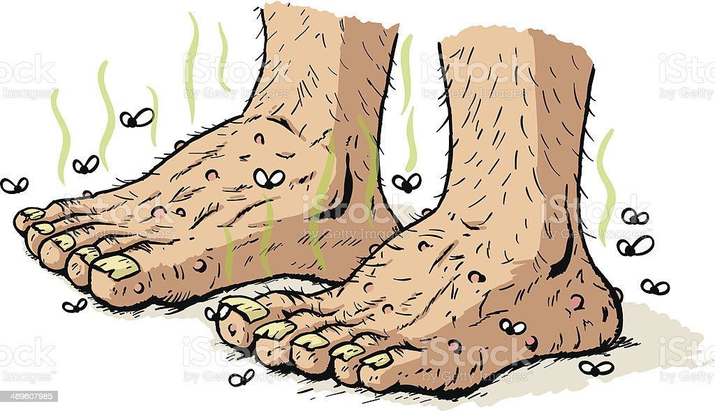 Dirty old feet vector art illustration