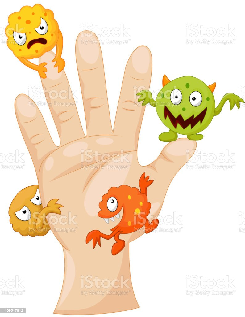 Dirty palm with cartoon germs vector art illustration