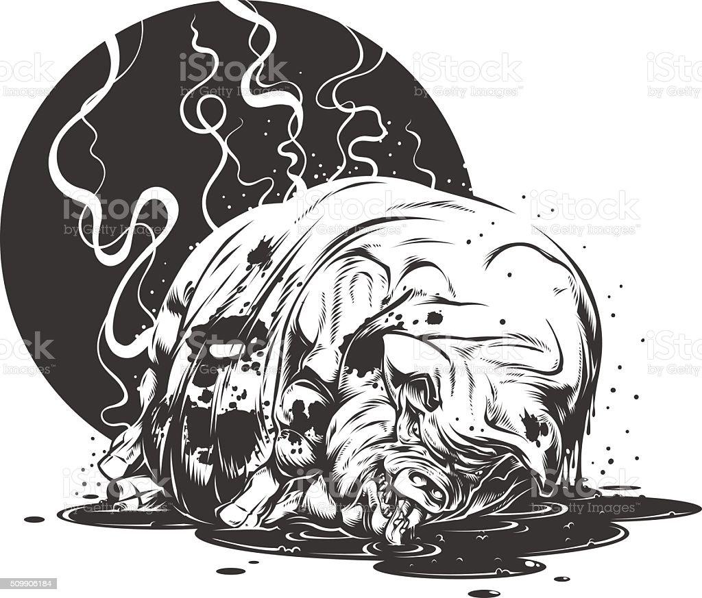 Dirty pig vector art illustration