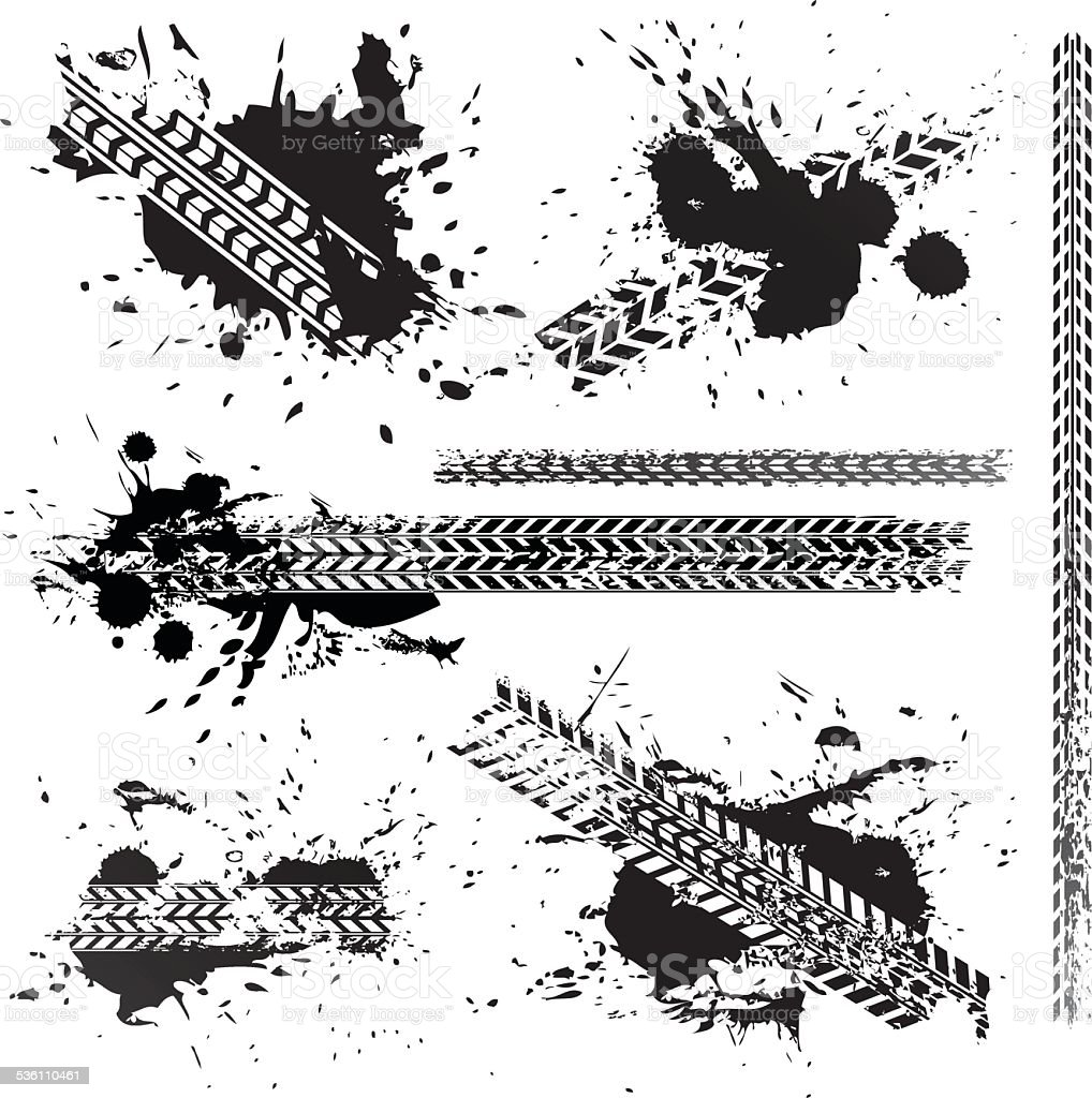 Dirty tire tracks set collection vector art illustration