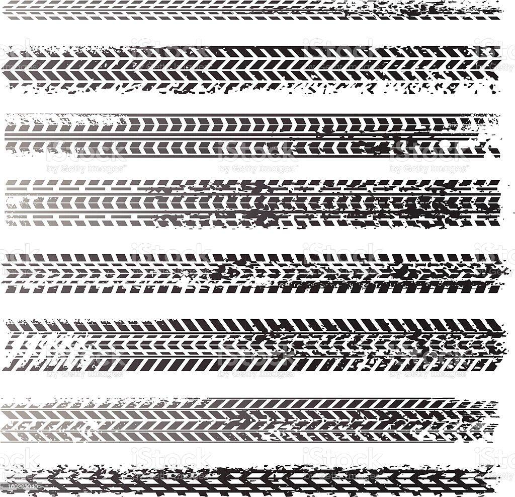 Dirty tire tracks vector art illustration