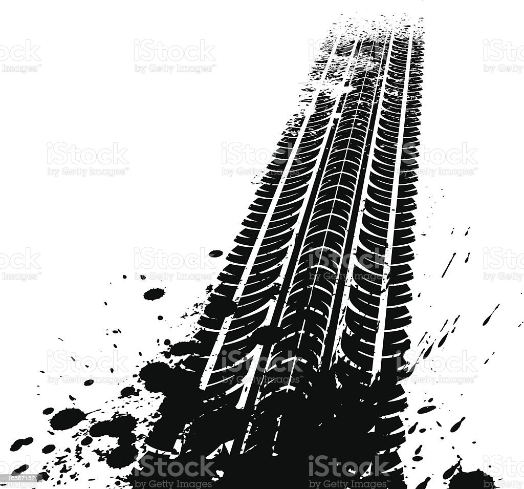 Dirty tyre tracks vector art illustration