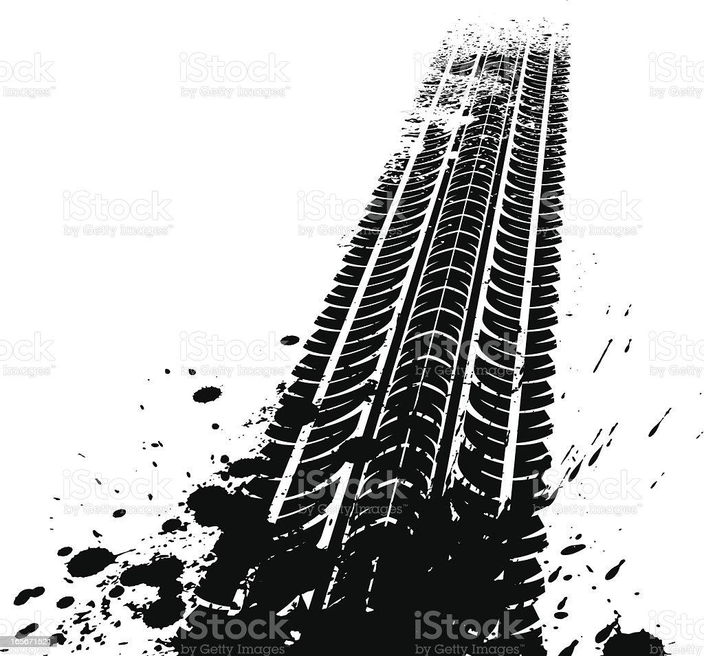 Dirty tyre tracks vector art illustration