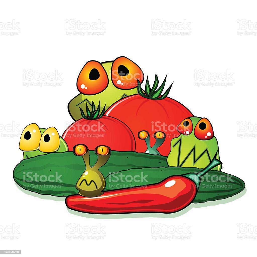 Dirty vegetables vector art illustration