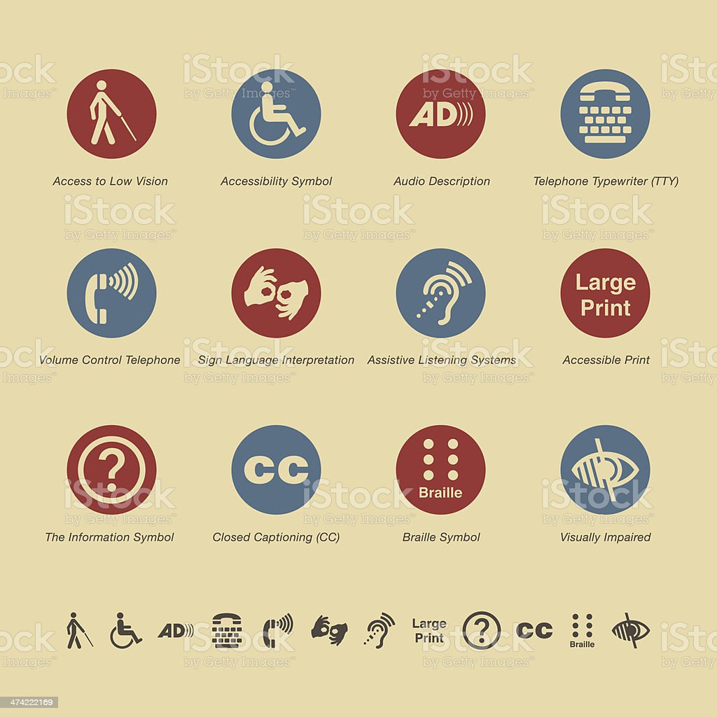 Disability Access Icons - Color Series vector art illustration