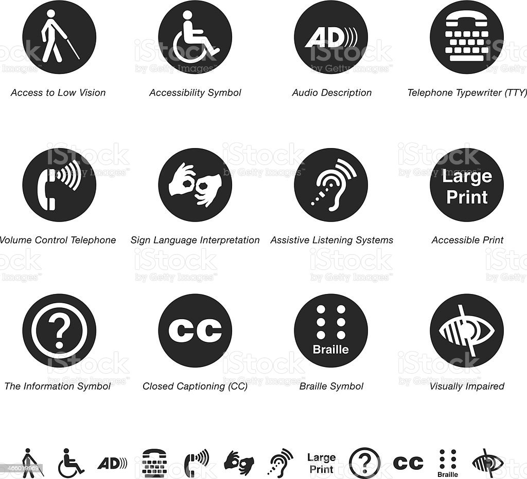 Disability Access Silhouette Icons vector art illustration