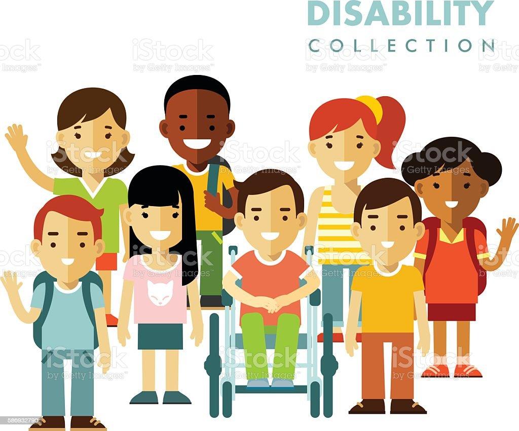 Disability children friendship concept vector art illustration