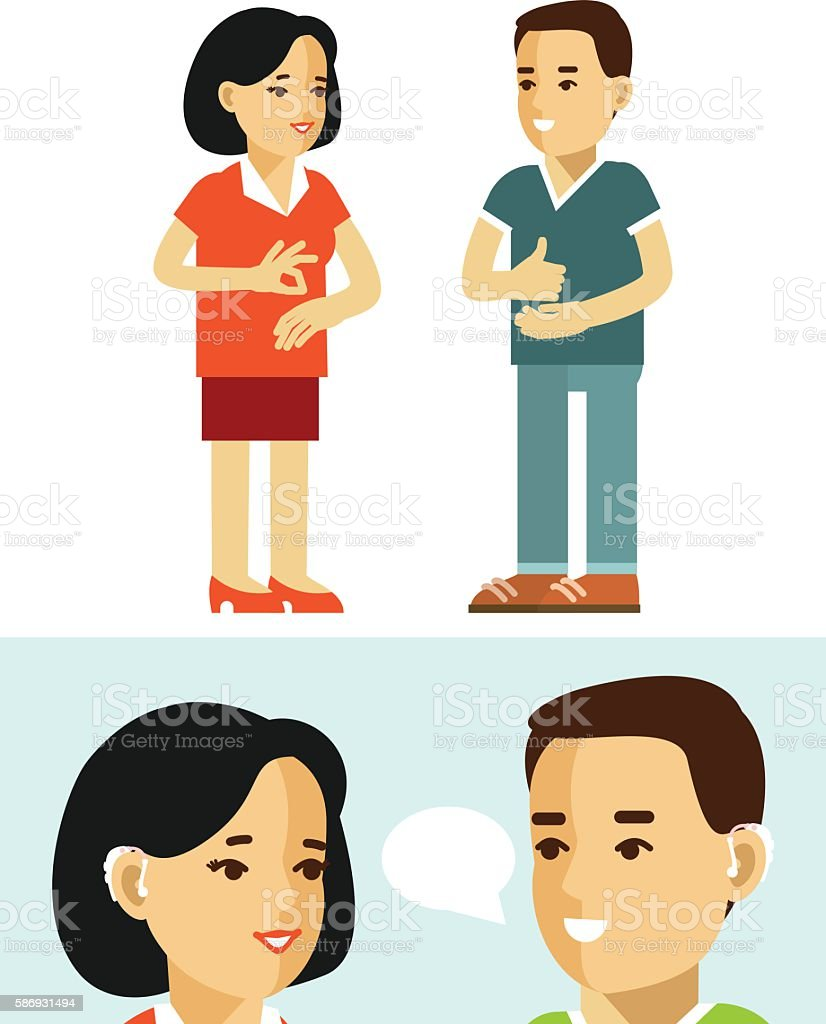 Disability deaf person concept. People with hearing aid. vector art illustration