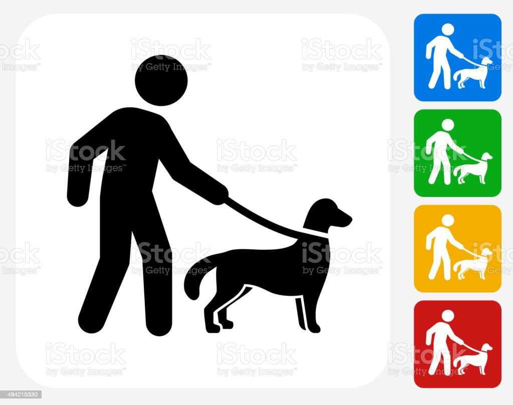 Disability Dog Icon Flat Graphic Design vector art illustration