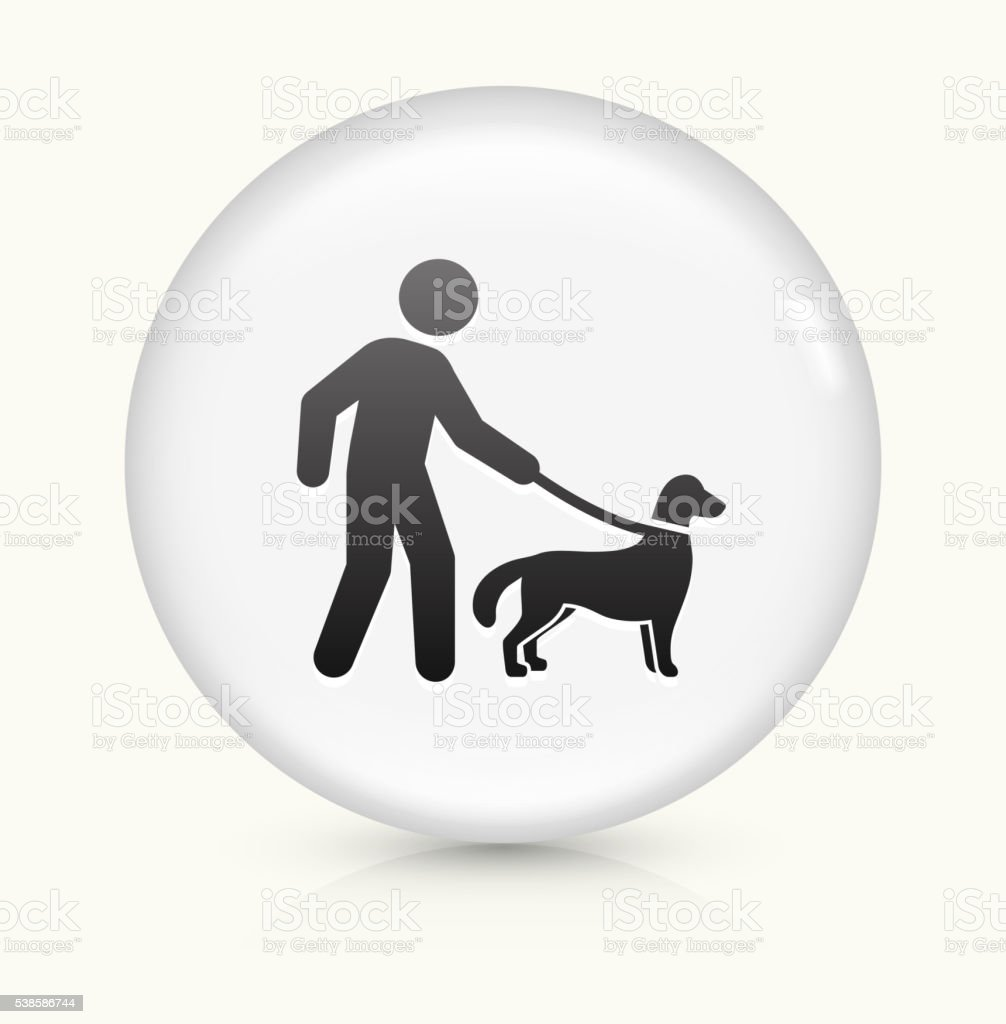 Disability Dog icon on white round vector button vector art illustration