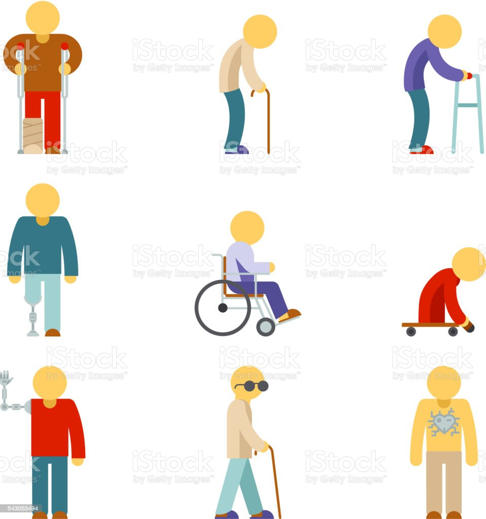 Disability flat icons. People signs vector art illustration