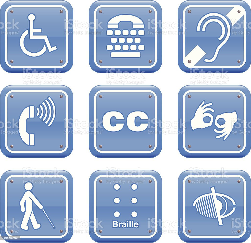 Disability Icon Set vector art illustration