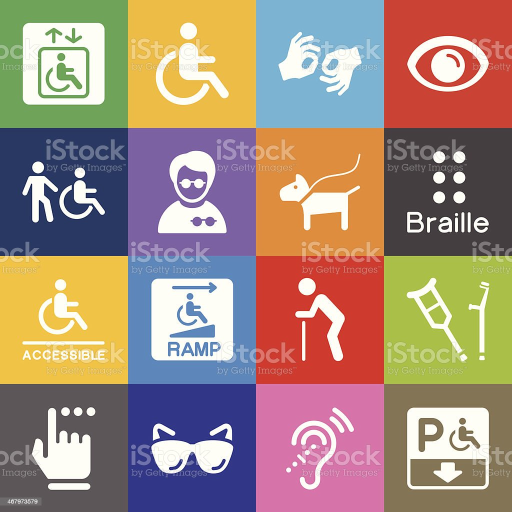 Disability Icons and Color Background vector art illustration