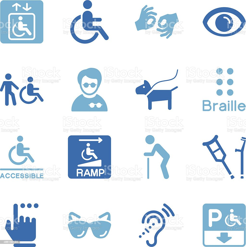 Disability Icons | Color Series vector art illustration