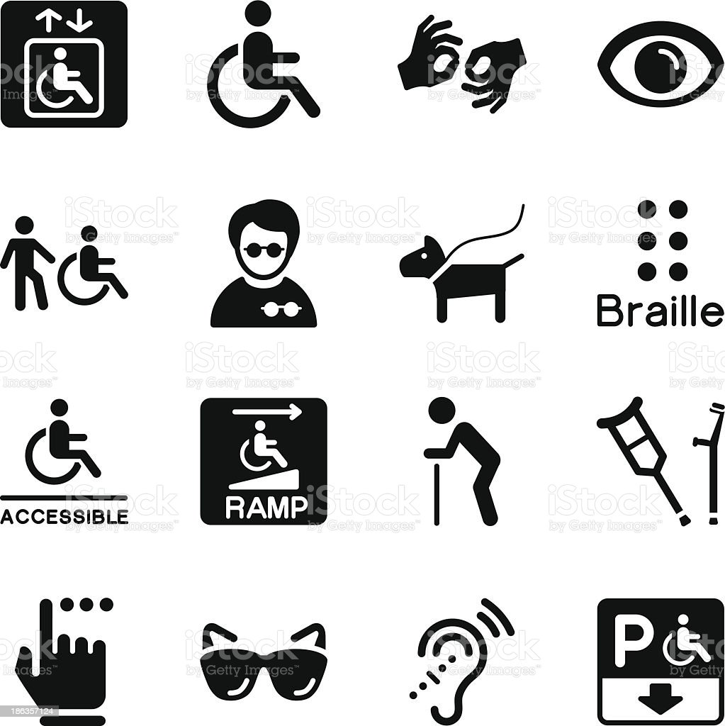 Disability Icons vector art illustration