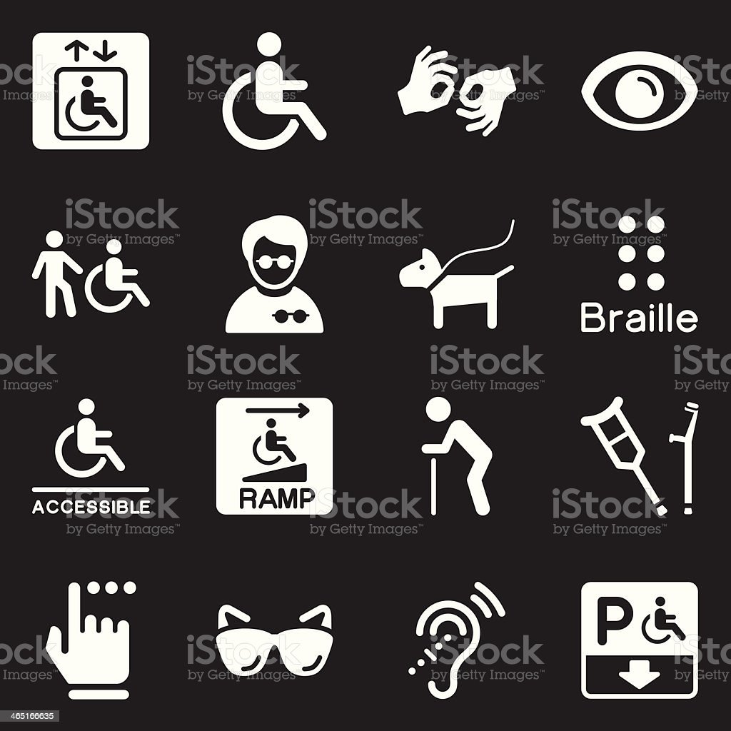 Disability Icons | White Series vector art illustration