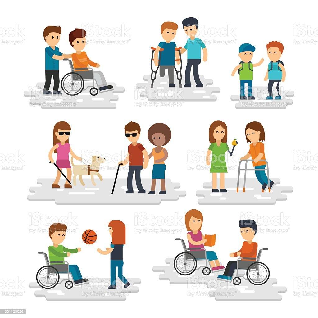 Disability person vector flat vector art illustration