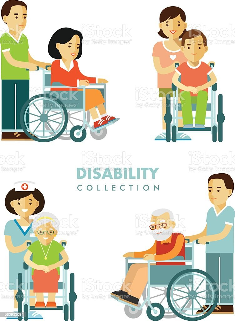 Disability persons set vector art illustration
