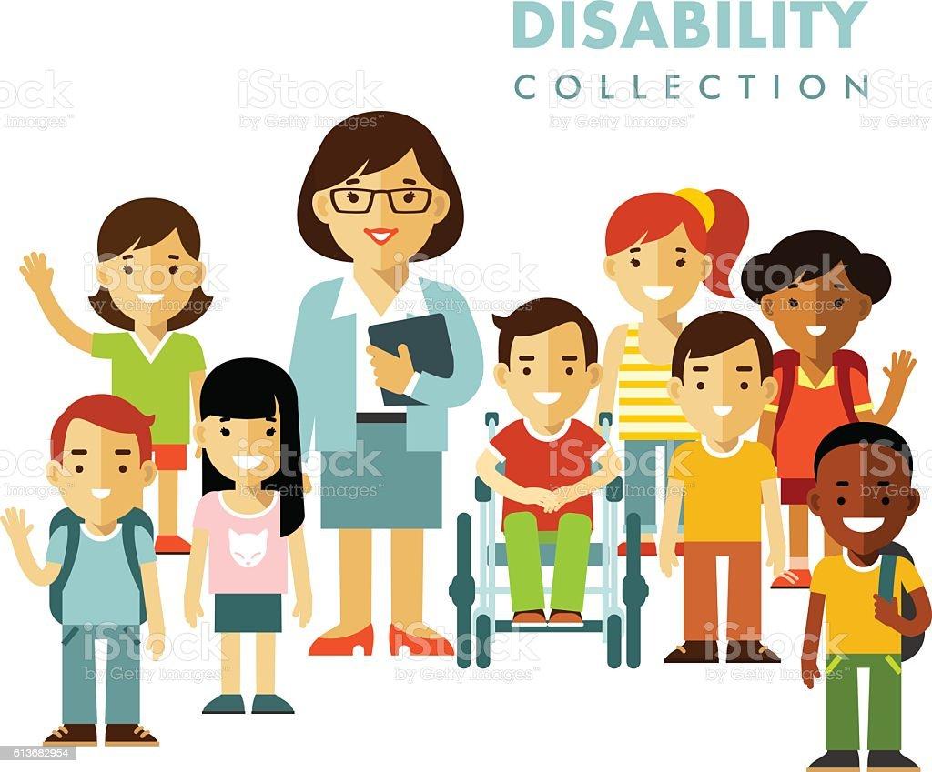 Disability school children friendship concept vector art illustration