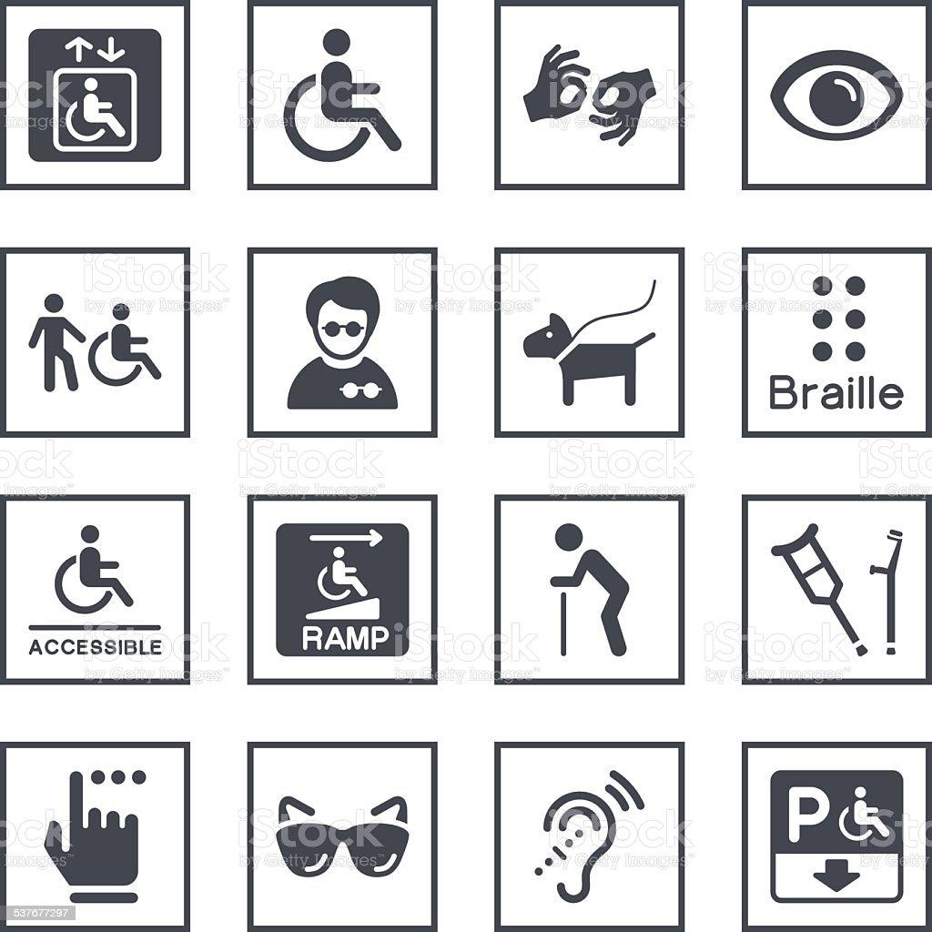 Disability Symbols vector art illustration