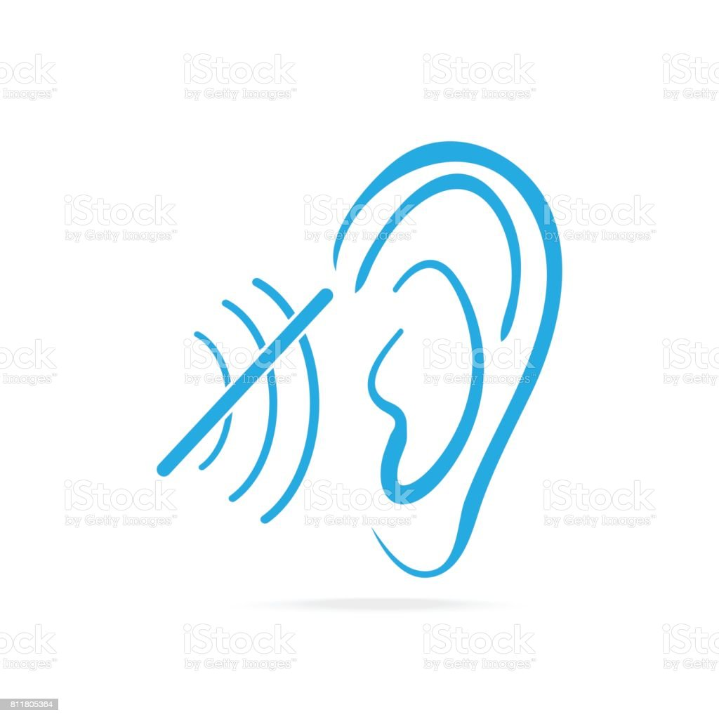 Disability to hear blue icon, Deaf icon, Hearing and ear icon vector art illustration