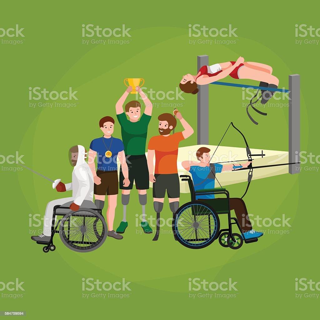 Disable Handicap Sport Games Stick Figure Pictogram Icons vector art illustration