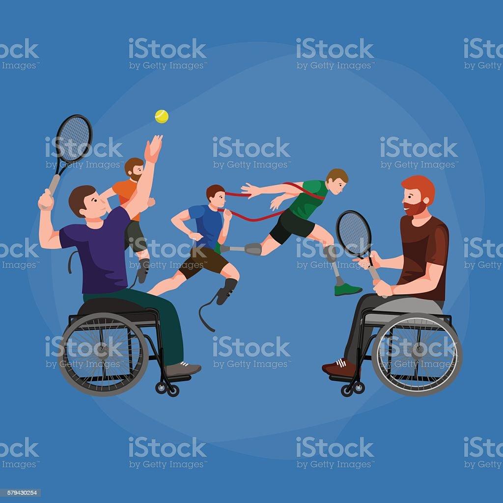 Disable Handicap Sport Paralympic Games Stick Figure Pictogram Icons vector art illustration