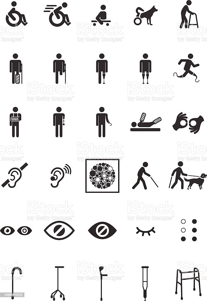 Disable set vector art illustration