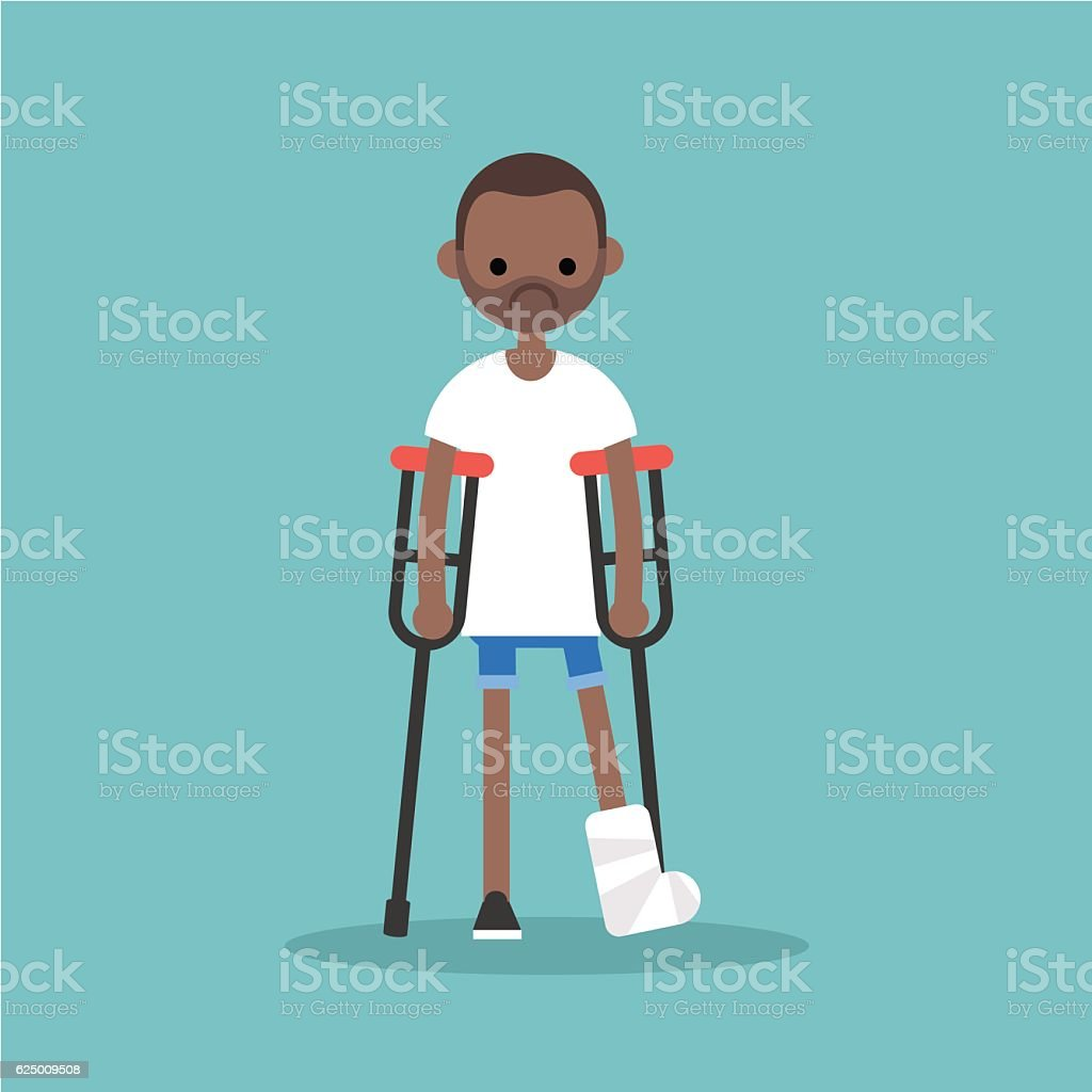Disabled black man on crutches with broken leg vector art illustration