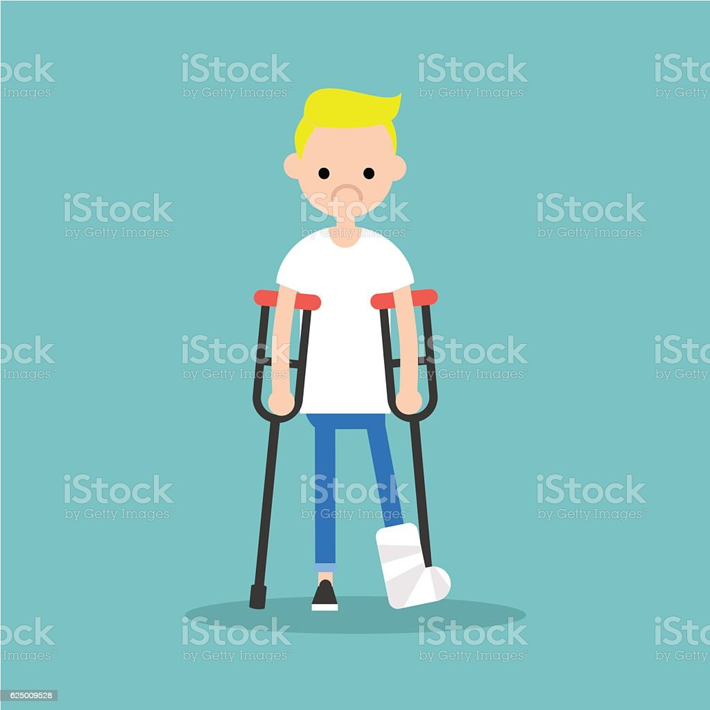 Disabled blond boy on crutches with broken leg vector art illustration