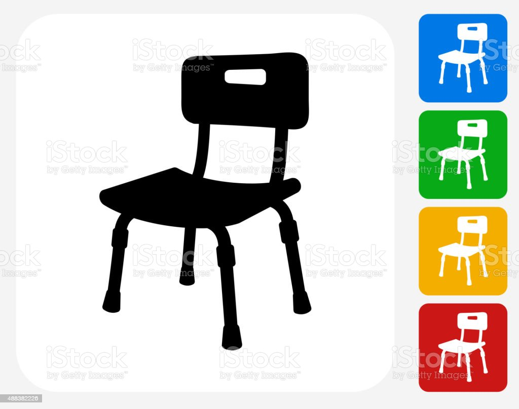 Disabled Chair Icon Flat Graphic Design vector art illustration