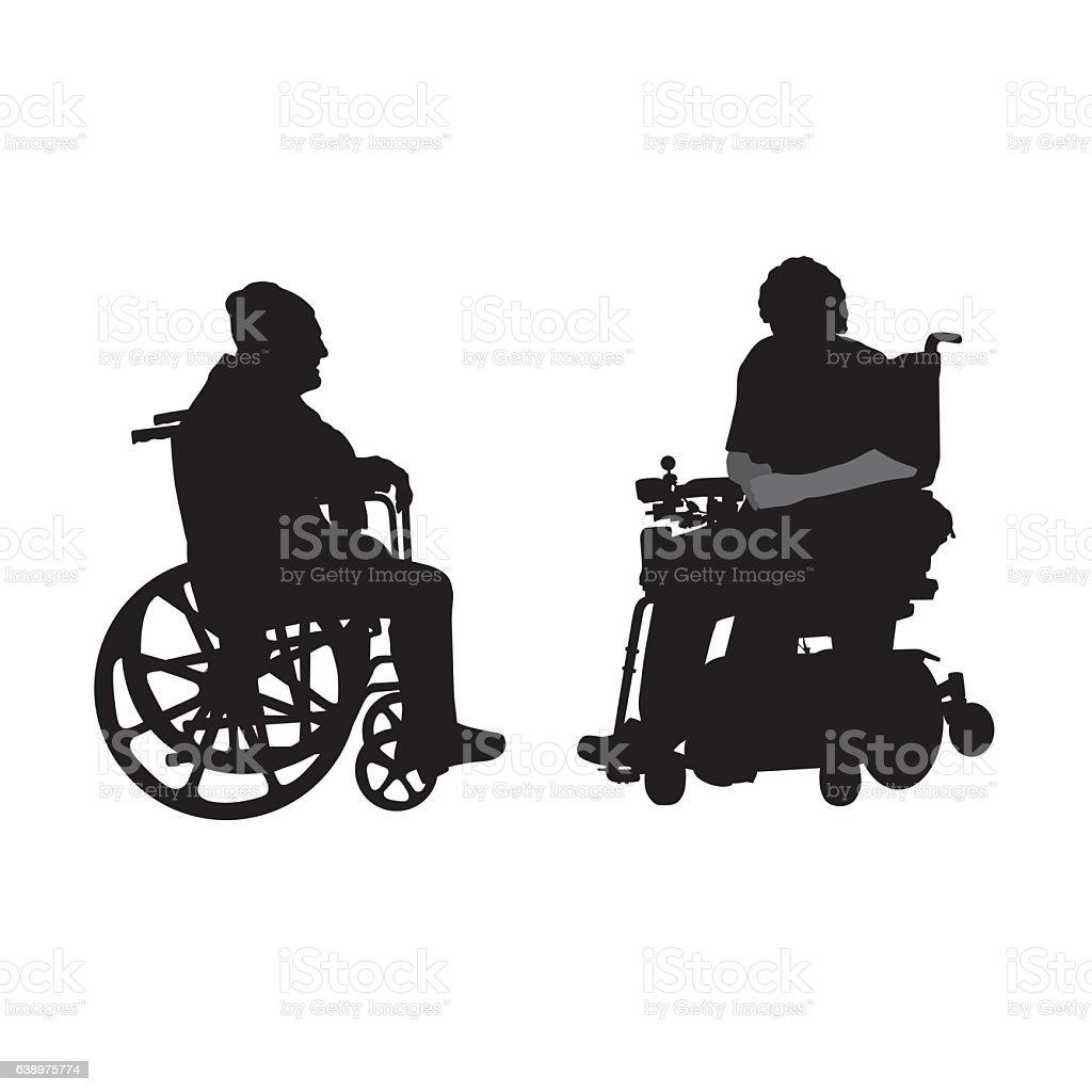Disabled Elderly Friends vector art illustration