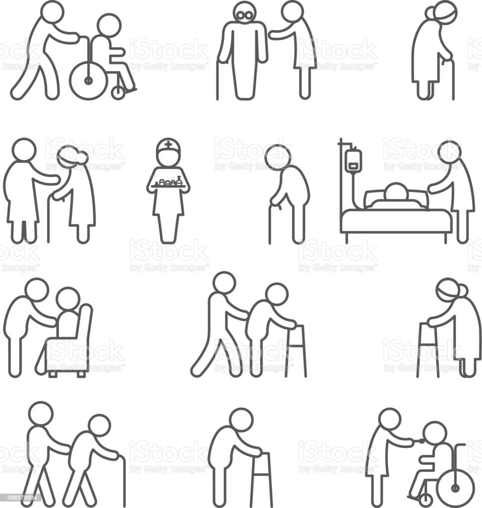 Disabled nursing and healthcare icons vector art illustration