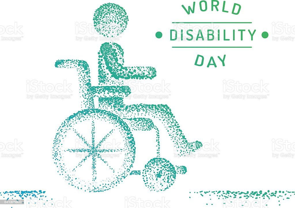 Disabled person in a wheelchair vector art illustration