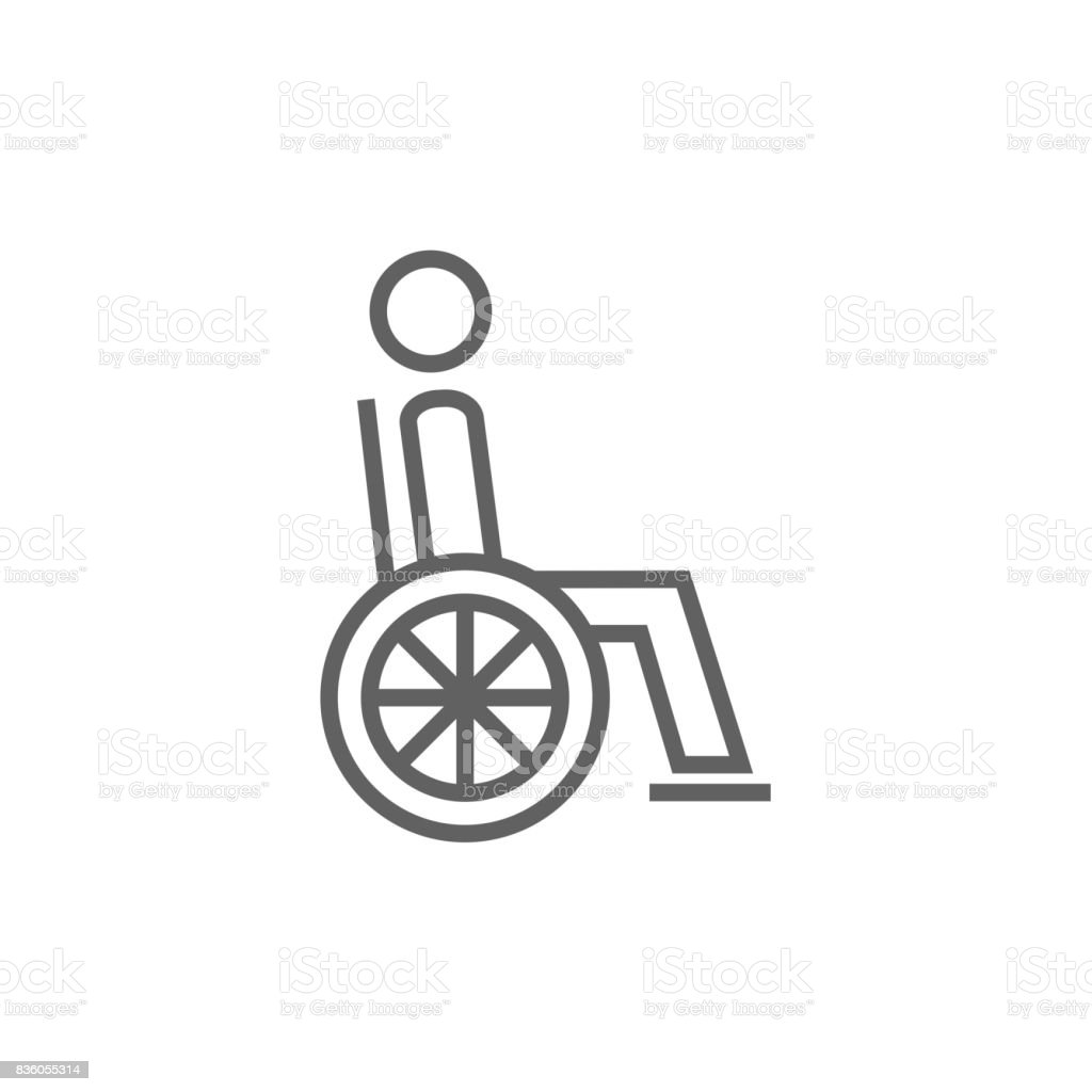 Disabled person line icon vector art illustration