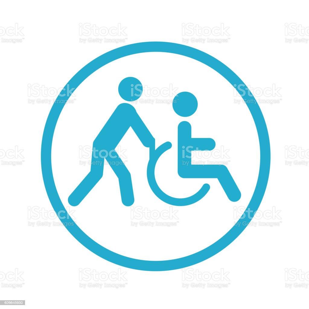 Disabled Person Transportation icon vector art illustration