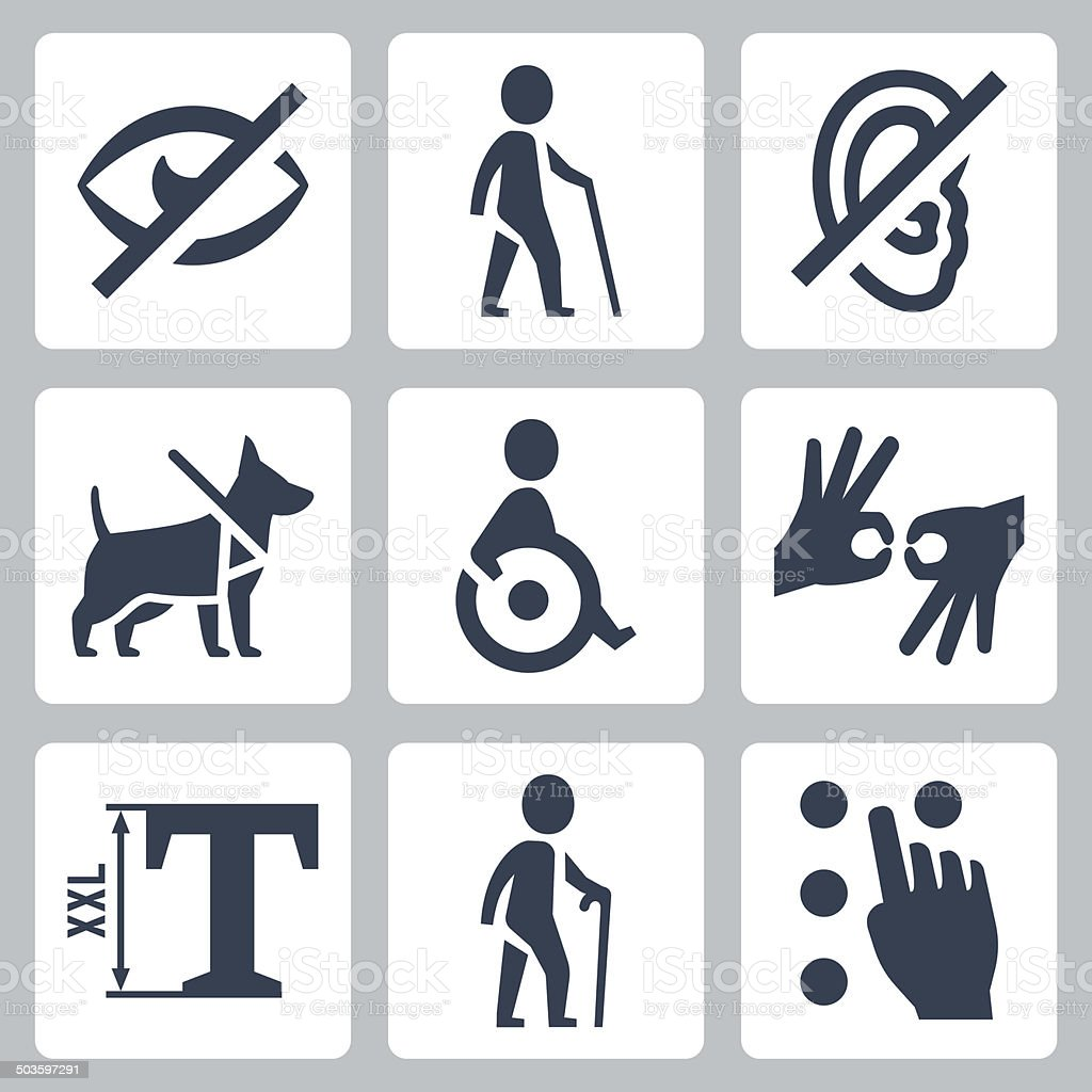 Disabled releated vector icons set vector art illustration
