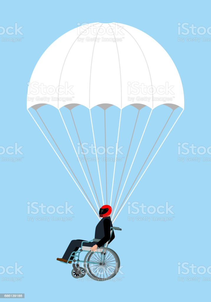 Disabled skydiver isolated. Wheelchair on parachute on sky vector art illustration
