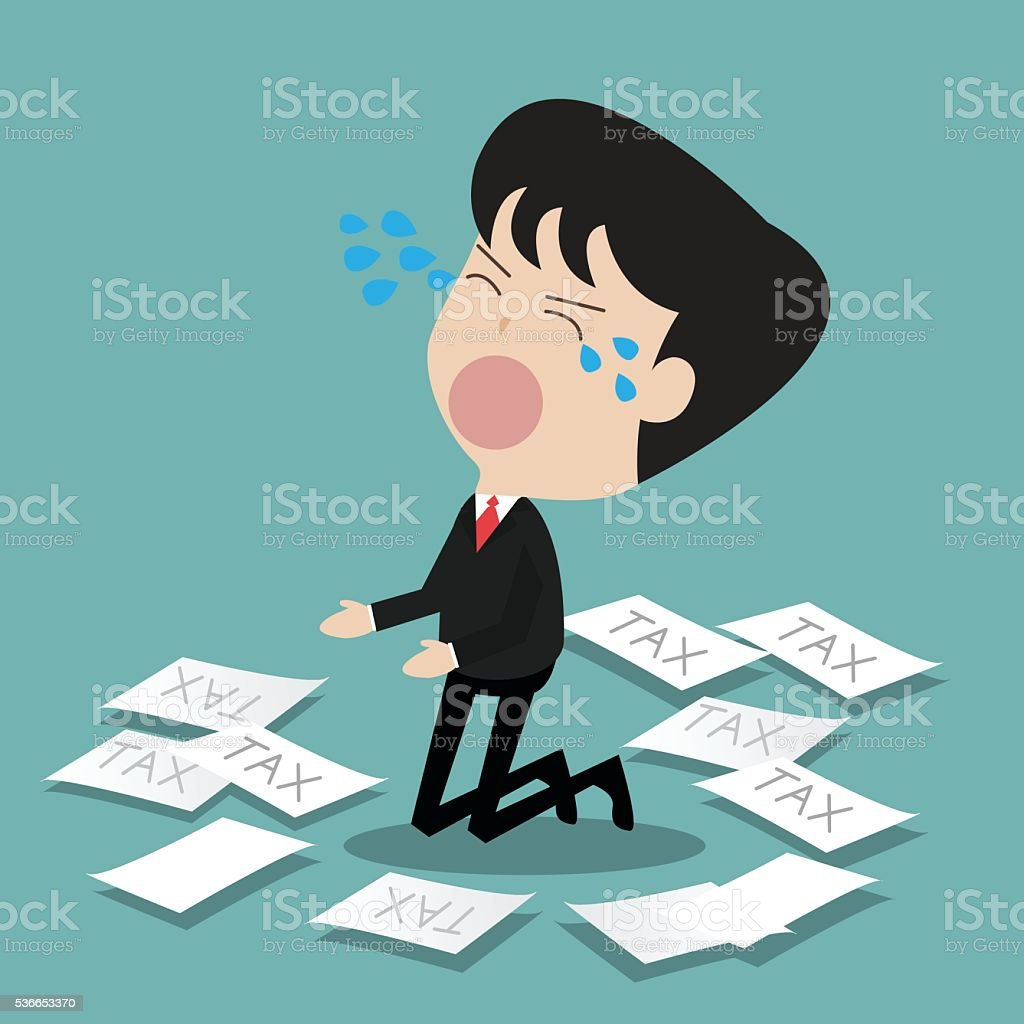 disappointed businessman crying get tax vector art illustration
