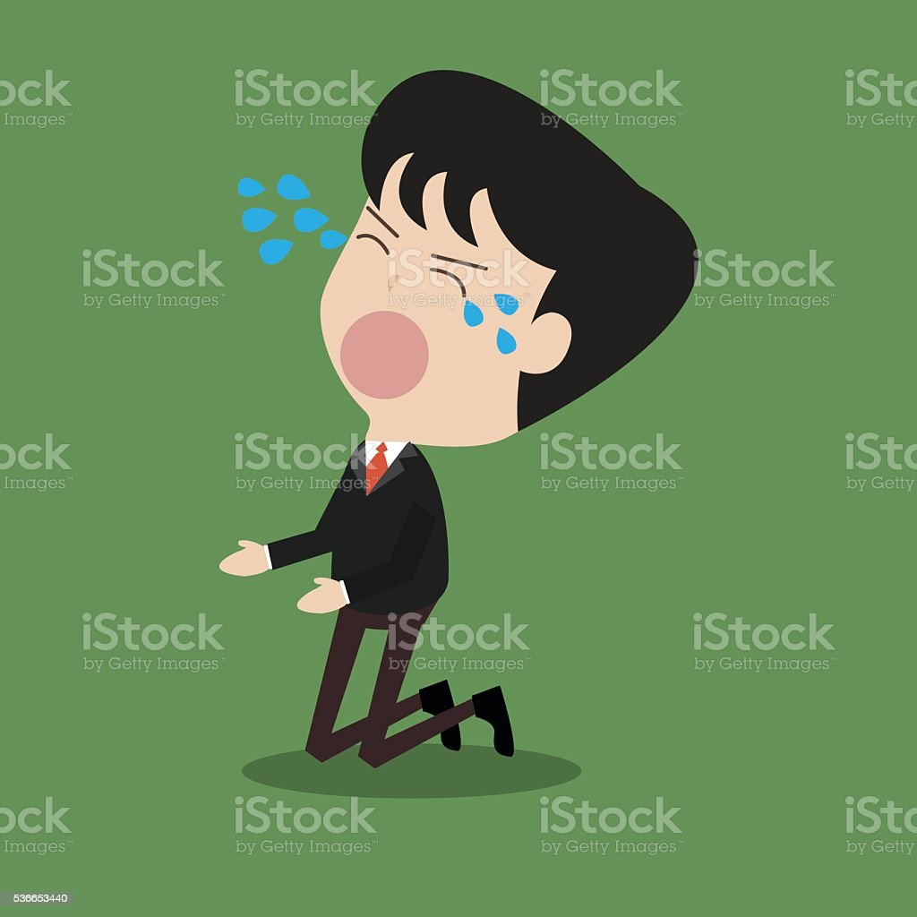 disappointed businessman crying vector art illustration
