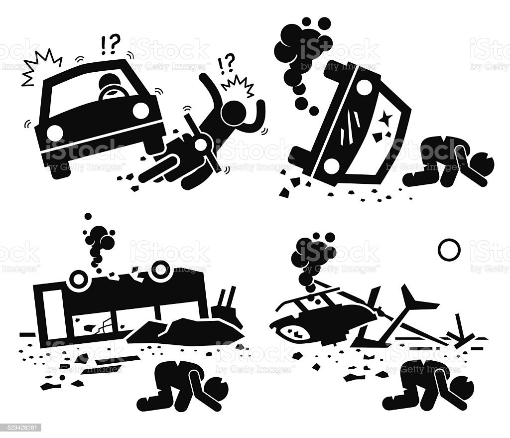 Disaster Accident Traged Car Motorcycle Bus Helicopter vector art illustration