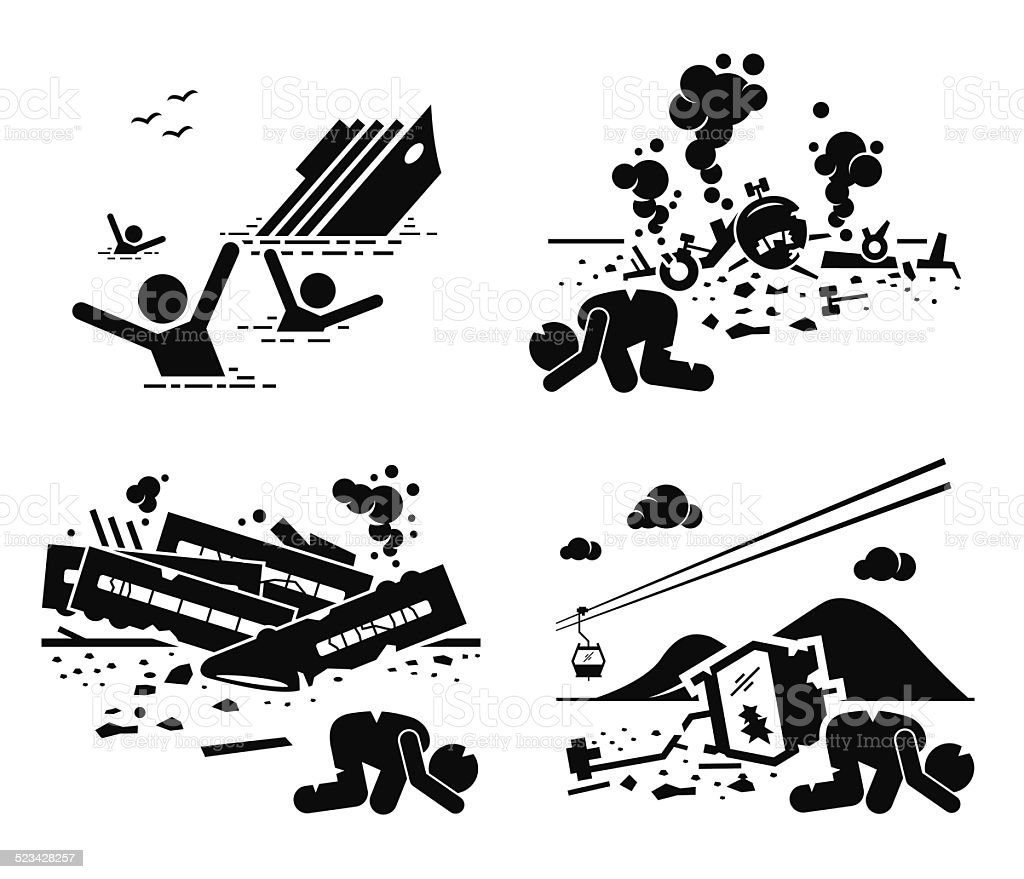 Disaster Accident Tragedy Ship Airplane Train Cable Car vector art illustration