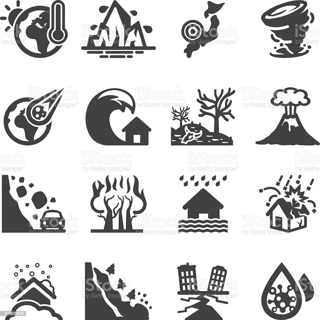 Disaster Accidents Silhouette Icons | EPS10 vector art illustration