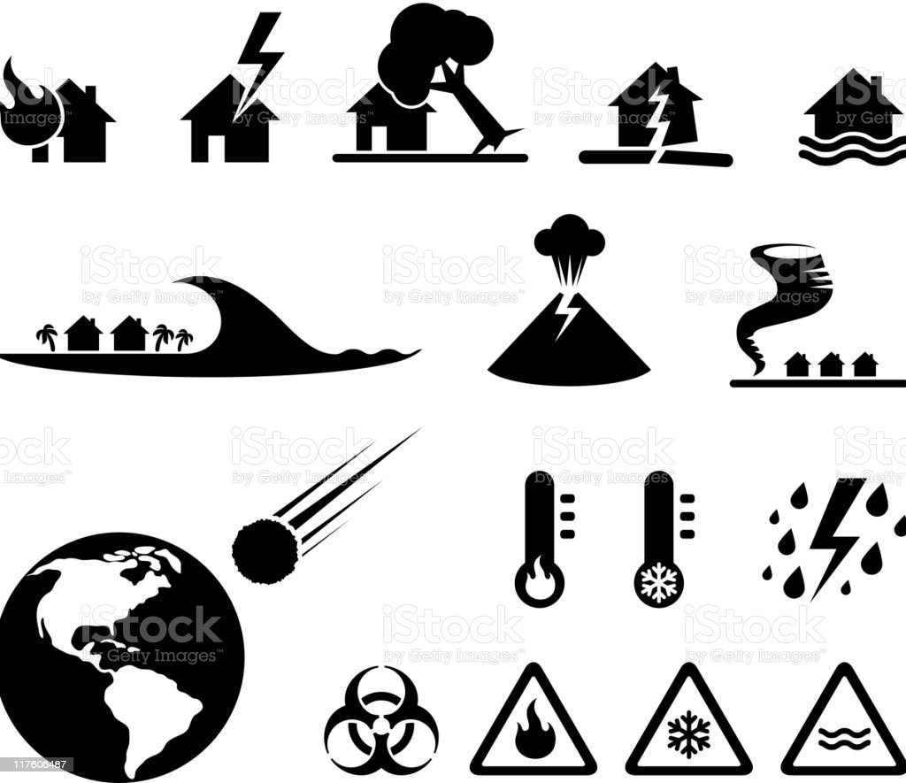 disaster black & white royalty free vector icon set vector art illustration