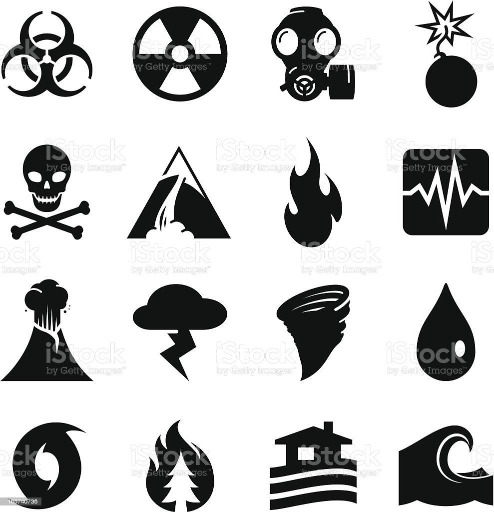 Disaster Icons - Black Series vector art illustration