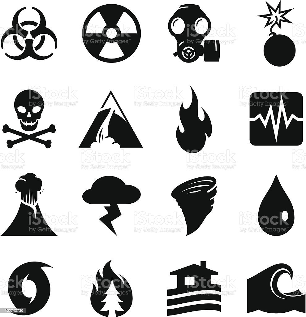 Disaster Icons - Black Series vector art illustration