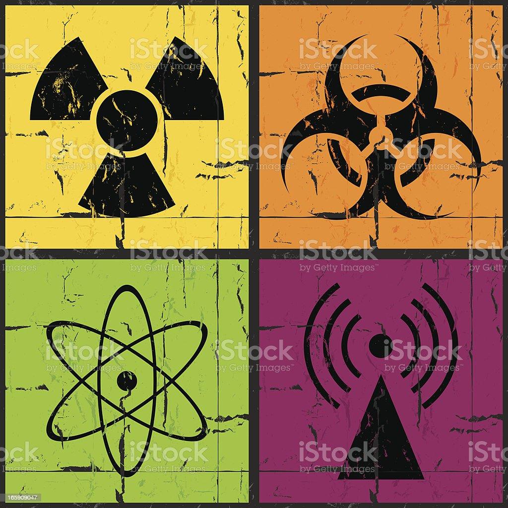 Disaster icons grunge set royalty-free stock vector art
